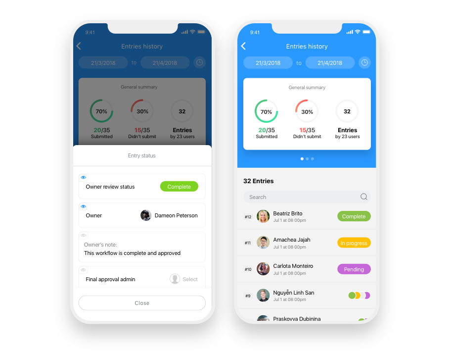 Mobile interface checklists app for employees